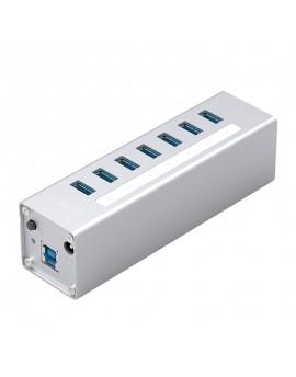 A3H7-U3-V2 Aluminum Alloy 7 Ports USB3.0 HUB with BC1.2 Charger