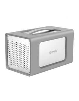 RS400RC3 3.5 inch 4 bayss Aluminum Alloy Type-C Hard Drive Enclosure with Raid and Silicone Cover Silver