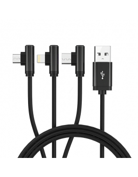 H3S-12 Right-angled 3 in 1 Type-A to Lightning + Type-C + Micro Data Cable 1.2 Meter Black